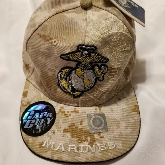 666844d5170 NWT US Marine Corps Digital Camo Strapback Hat